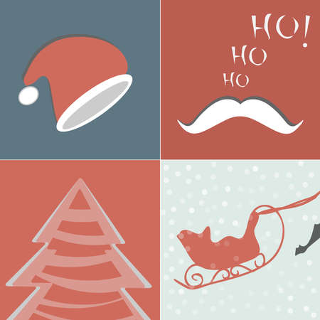 Set of Christmas Cards , retro Christmas elements for design. Vector