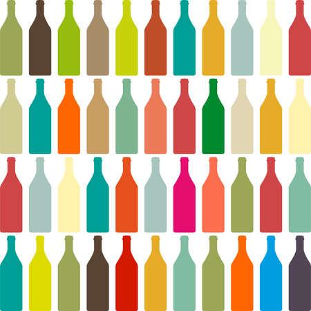 배경에 다채로운 병 세트 병, 와인 병 및 안경 원활한 패턴, 배경입니다. 일러스트