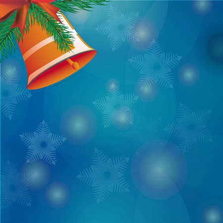 Bell Christmas bell with ribbon background snowflakes. Stock Photo