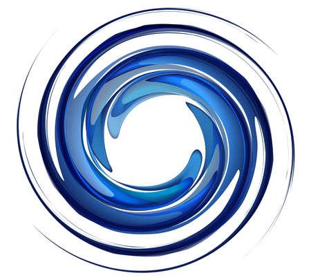 Tourbillon d'eau isolé sur fond blanc, l'eau de rotation bleu, vecteur de remous, éclaboussures d'eau dans la forme ronde.