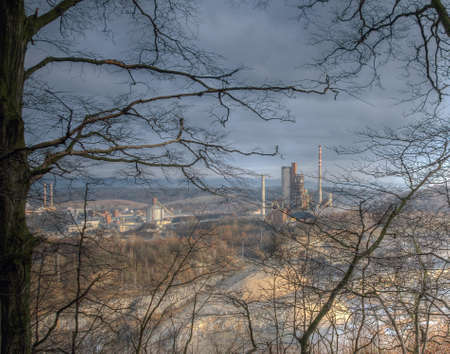 cement chimney: Cement factory industrial zone,  Czech Republic,industry and pollution,quarry