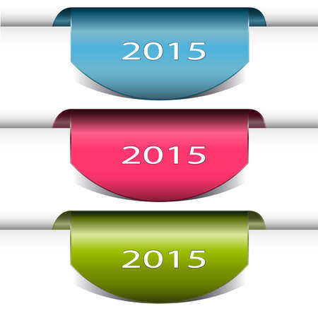 Set of labels badges and stickers ,New Year book mark vector illustration with 2015, fresh colorful . Vector
