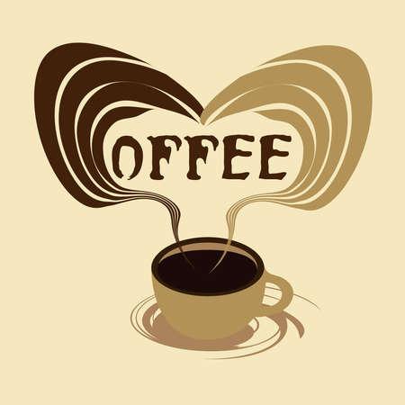 aromatique: Une tasse de caf� et le parfum aromatique, illustration vectorielle.