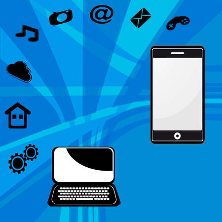 laptop and mobile phone process of upload and download vector