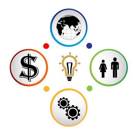 Modern business circle  banner,vector illustration,web design infographics. Vector