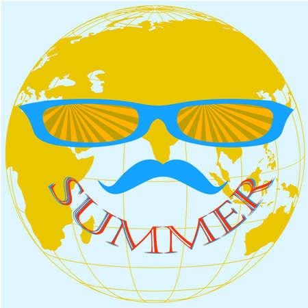 obscure: Fondo anaranjado y azul tierra, globo de verano, ilustraci�n vectorial