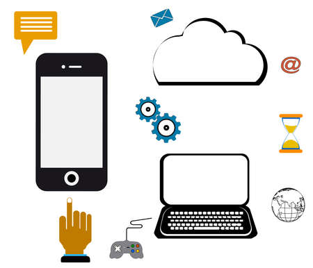 computer network cloud mobile,communication technology illustration with mobile phone