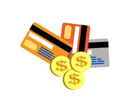 Credit Cards isolated on white,vector Illustration,Golden dollar Vector