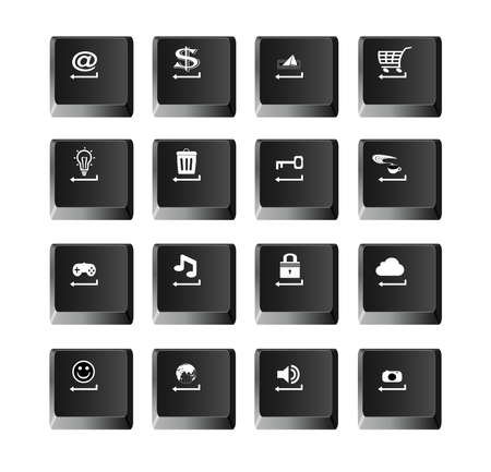 shortcut: Set computer buttons vector illustration, black computer keys. Illustration
