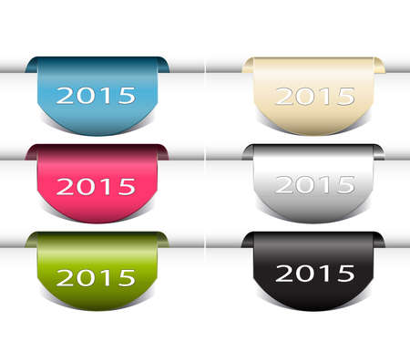book mark: Set of labels badges and stickers ,New Year book mark vector illustration with 2015, fresh colorful .