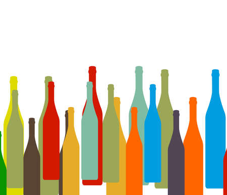 alcohol bottles: colorful bottles on white background.