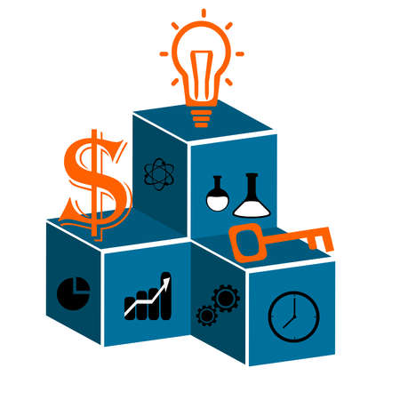 Business plan in a sphere operations, financial planning,marketing plan illustration.