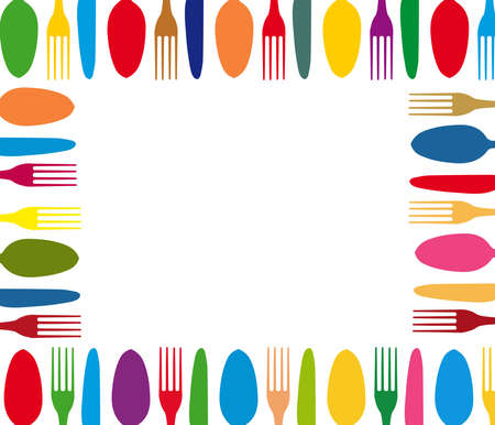 Cutlery color background Vector