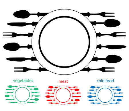 Plate with cutlery,Design place setting with knives, plate, spoons vector illustration. Illustration