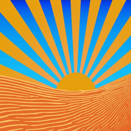 beams: Background sun beams above the coast vector