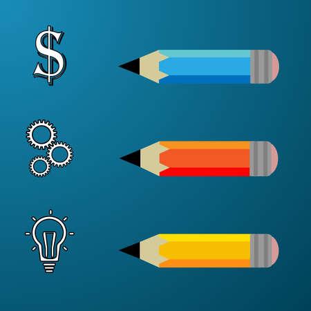adder: Business Concept vector illustration,pencil modern template,infographic business plan.