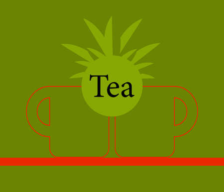instant coffee: Green tea cup,Vector tea cup on green background,icon cup. Illustration