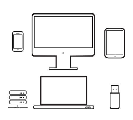 Desktop computer, laptop, tablet and mobile phone.Vector illustration of the icons of the electronics.