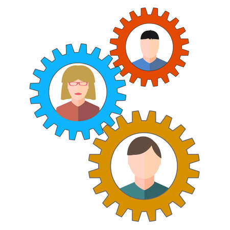 Business people and staff icons in circles depicting a set of gears for teamwork. photo