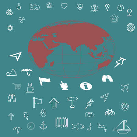 Icons set travel, medicine, ecology,transport.Camping and outdoor activity icon. photo