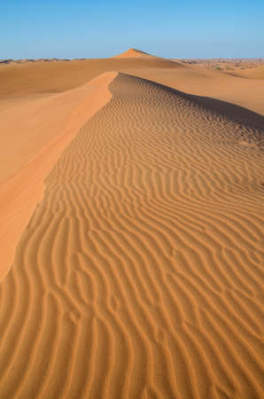 desert island: Dunes in the desert.Arid desolate landscape.Footprints in the sand.Structure of waves in the desert sand.Waves of orange sand on top of the dunes. Stock Photo