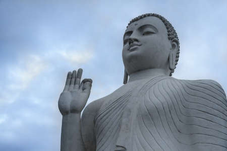 samadhi: Buddha Statue,Buddha in Meditation, Buddha portrait in the background of the sky.Temple in Sri lanka.