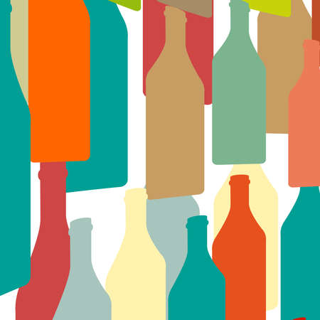 alcohol series: Bottles silhouette .Vector background bottle.Template for menu card. Colorful bottle on background. Stock Photo