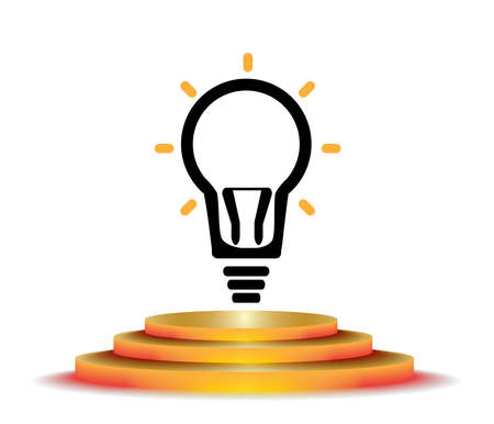 winning idea: Creative light bulb idea abstract infographic.Vector illustration winning podium.