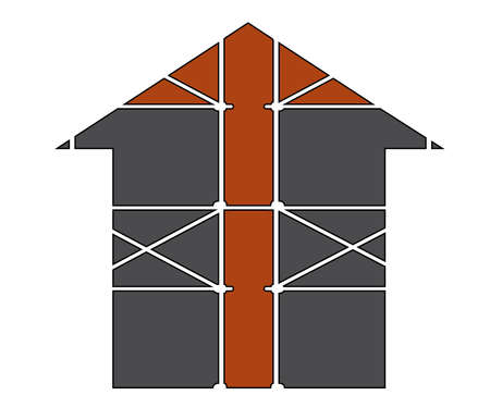 Vector prefabricated scaffolding isolated illustration.Home icon. Stock Photo