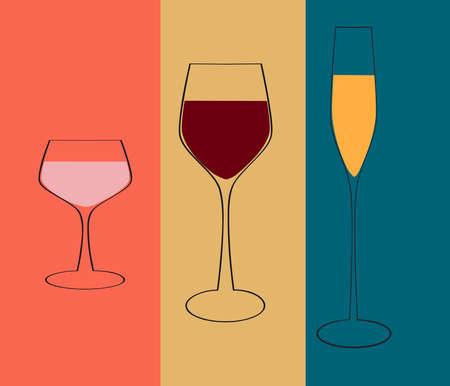 red wine glass: Insulated wine glasses set.Wine menu design template.Glasses set vector. Stock Photo