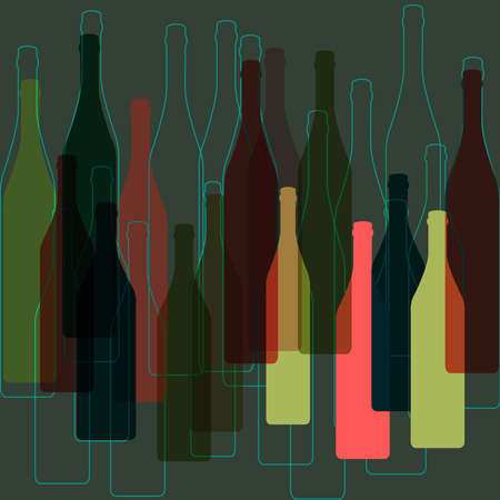 delineate: Bottles of alcohol.Wine bar menu background.Bottles silhouette .Template for menu card. Stock Photo