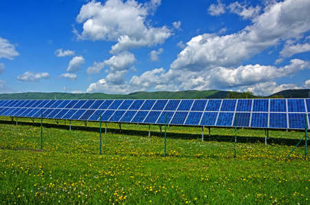 Detail of the Solar Power Station Nature.Solar power cells. Stock Photo