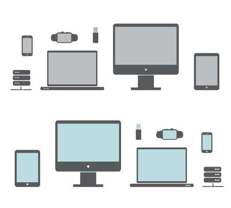 desktop computers: Desktop,Smart Watches, computer, laptop, tablet and mobile phone.Vector illustration of the icons of the electronics. Stock Photo