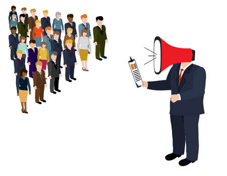 subordinate: Director subordinate commands.Man with megaphone vector illustration.Big boss yelling to her employee with megaphone. Work pressure concept. Stock Photo