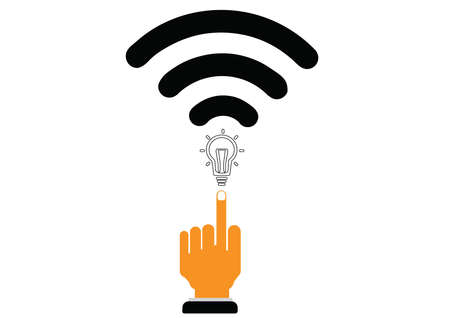 transmitting: The idea of transmitting vector.Illustration wifi to send. Stock Photo