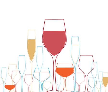 spirituous: Cocktail Party Vector.Bar Menu Ilustration.Suitable for Poster.Party Design Menu.Invitation Card with Glasses.Alcoholic Bottles Background.Wine List Design.