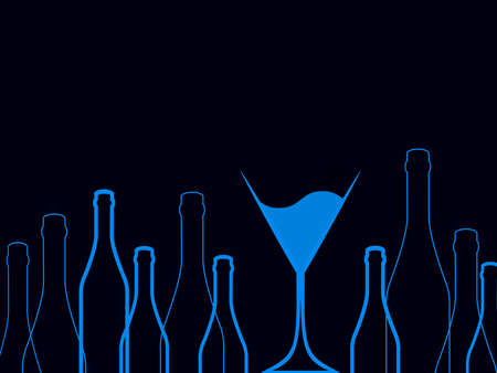 spirituous: Cocktail Party Vector.Bar Menu Ilustration.Suitable for Poster.Party Blue Design Menu.Invitation Card with Glasses.Alcoholic Bottles Background.Wine List Design. Stock Photo