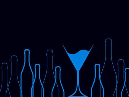 spirituous beverages: Cocktail Party Vector.Bar Menu Ilustration.Suitable for Poster.Party Blue Design Menu.Invitation Card with Glasses.Alcoholic Bottles Background.Wine List Design. Stock Photo