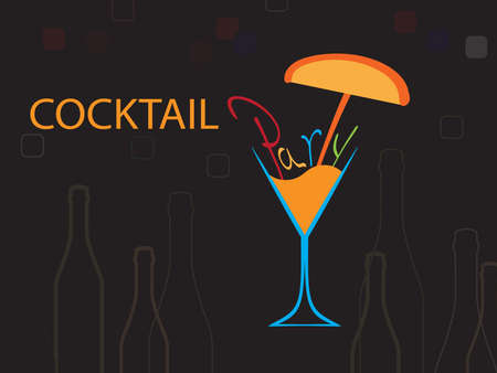 spirituous beverages: Cocktail Party Vector.Bar Menu Ilustration.Suitable for Poster.Party Design Menu.Invitation Card with Glasses.Alcoholic Bottles Background.Wine List Design.