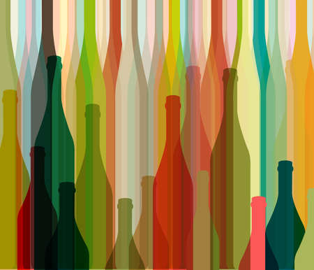 Background Bottle Ilustration.Alcoholic Bar Menu.Design for Party.Template for Menu Card.Wine List Design.Suitable for Poster.Card Cocktail Party.Bottle of Wine Vector. Stock Photo