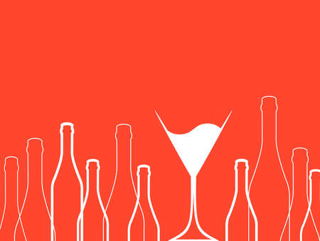 spirituous beverages: Cocktail Party Vector.Bar Menu Ilustration.Suitable for Poster.Suitable for Poster.Invitation Card with Glasses.Alcoholic Bottles Background.Wine List Design.