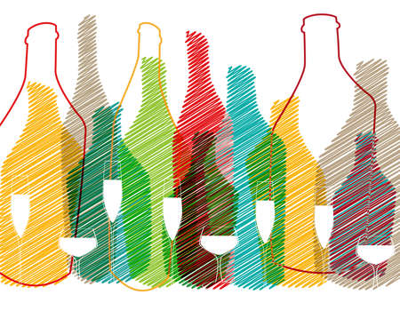 drunkenness: Background Bottle Ilustration.Alcoholic Bar Menu.Design for Party.Template for Menu Card.Wine List Placard.Suitable for Poster.Card Cocktail Invation.Bottle of Wine Vector. Stock Photo