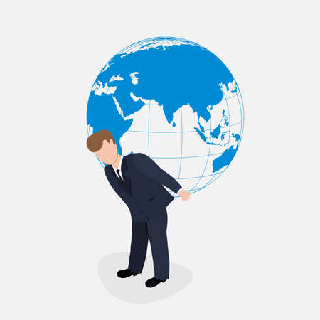 businessman carrying a globe: Man carrying the world illustration.Businessman holding the globe.Vector person holds atlas.