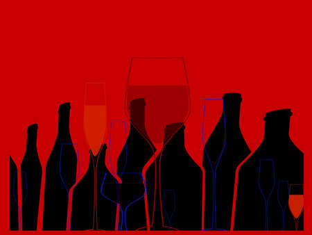 spirituous beverages: Cocktail Party Vector.Alcoholic Bottles Background.Bar Menu Ilustration.Suitable for Poster.Invitation Card with Glasses.Wine List Design.