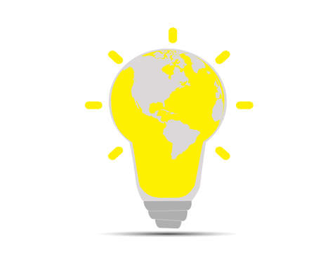 Illustration of an electric light bulb with a world globe.Concept vector illustration showing the Earth.