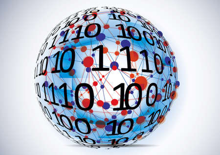 Technology koncept.Binary background . Vector Technology.Globe consisting of binary codes.Computer network. Stock Photo