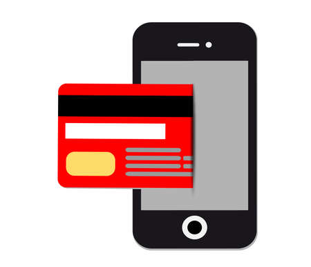 confirms: Mobile paypass.Credit Card Icon.NFC payment graph.Vector illustration of modern smartphone with processing of mobile payments from credit card.Pos terminal confirms the payment by debit credit card.