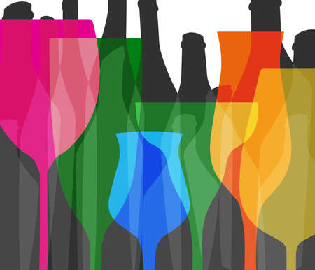 Wine bottle and glass.Cocktail Party.Glasses alcohol background.Bar Menu vector.Design for Party.