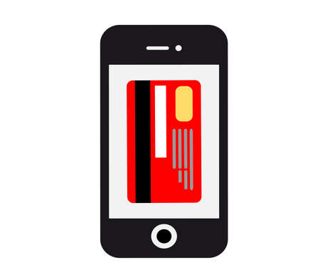 confirms: Pos terminal confirms the payment by debit credit card. Vector illustration of modern smartphone with processing of mobile payments from credit card. Stock Photo