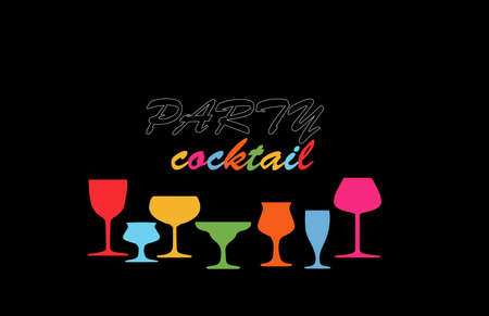 Cocktail party. Glasses to alcohol.Alcohol vector background. Template for drink card. Bottle of alcohol illustration.